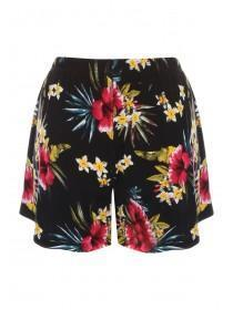 Womens Black Floral Lounge Shorts