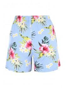 Womens Blue Floral Lounge Shorts