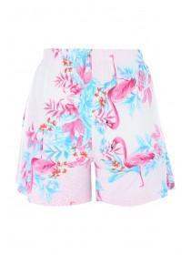 Womens White Flamingo Lounge Shorts