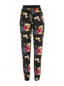Womens Black Floral Lounge Bottoms