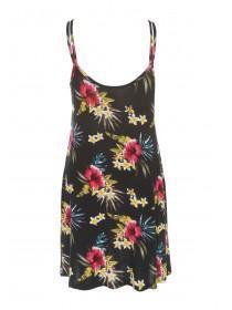 Womens Black Floral Print Chemise