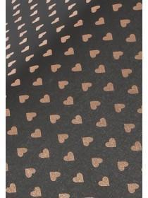 Womens Black Foil Heart Umbrella
