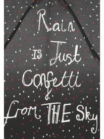 Womens Black Slogan Mini Umbrella