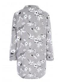 Womens Grey Floral Boyfriend Nightshirt