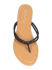 Womens Black Plait Sandals