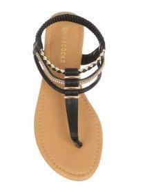 Womens Black Toe Post Sandals