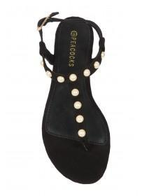 Womens Black Pearl Sandals