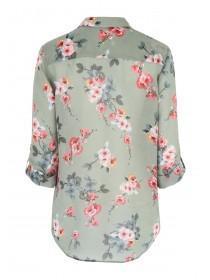 Womens Khaki Floral Blouse