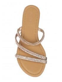 Womens Tan Open Toe Diamante Sandals