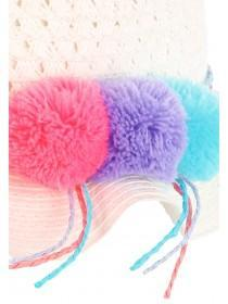 Younger Girls White Straw Pom Hat