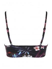 Womens Black Tropical High Neck Bikini Top