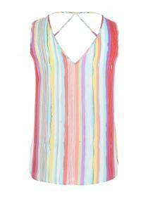Womens Multicolour Lattice Back Vest Top