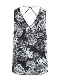 Womens Monochrome Palm Cross Back Vest Top