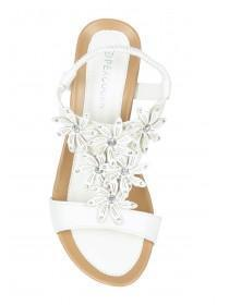 Womens White Comfort Flower Wedge Sandal