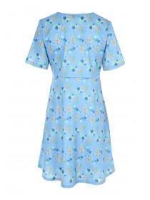 Womens Blue Floral Tea Dress
