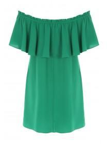 Womens Green Bardot Dress