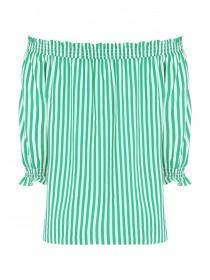 Womens Green Stripe Bardot Top