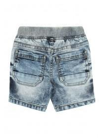 Younger Boys Blue Acid Wash Shorts