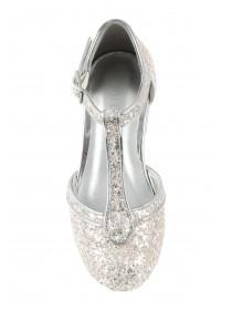 Younger Girls Silver Glitter T-Bar Shoes