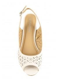 Womens White Laser Cut Slingback Mules