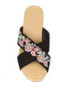 Womens Black Embroidery Cross Strap Sandals