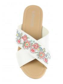 Womens White Embroidery Cross Strap Sandals
