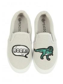 Younger Boys Grey Dinosaur Skater Trainers