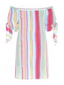 Womens Multicolour Stripe Bardot Dress