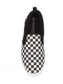 Boys Monochrome Checkerboard Skater Trainers