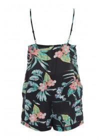 Womens Black Floral Top and Shorts Pyjama Set