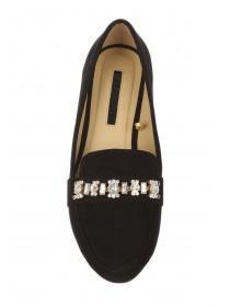 Womens Black Diamante Trim Loafers