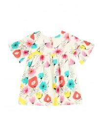 Younger Girls Cream Floral Smock Dress