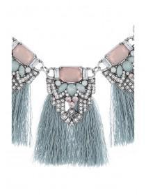 Womens Blue Tassel Necklace