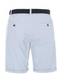 Mens Blue Striped Belted Chino Shorts