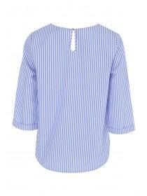 Womens Blue Stripe Tie Front Top