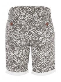 Mens Charcoal Tribal Print Chino Shorts