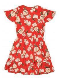 Older Girls Red Floral Wrap Dress
