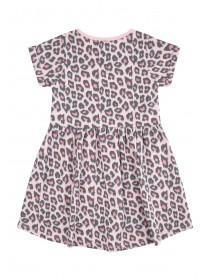 Younger Girls Pink Leopard Print Dress