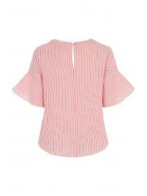 Womens Coral Stripe Flute Sleeve Top