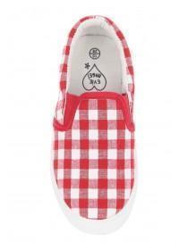 Younger Girls Red Gingham Skater Trainers