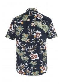 Mens Navy Floral Short Sleeve Shirt
