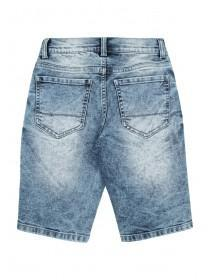 Older Boys Blue Distressed Patch Shorts