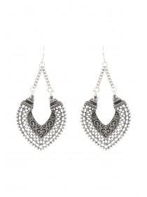 Womens Silver Crescent Drop Earrings