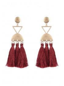 Womens Burgundy Tassel Earrings