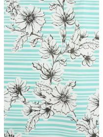 Womens Turquoise Stripe Floral Shopper Bag