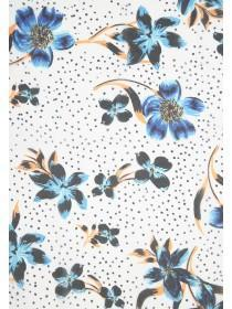 Womens Blue Floral Slim Scarf