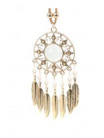 Womens Gold Dreamcatcher Layered Necklace