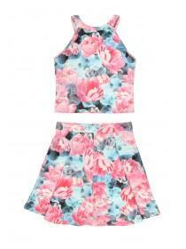 Older Girls Pink Floral Top and Dress Set