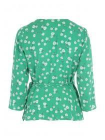 Womens Green Floral Wrap Top