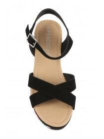 Older Girls Black Embroidered Wedge Sandals